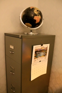 Filing Cabinet with globe