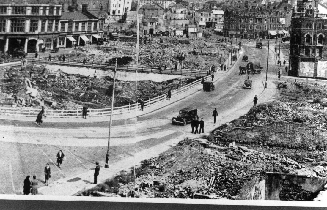 Old Town Street and Spooner's Corner after the Blitz in 1941.