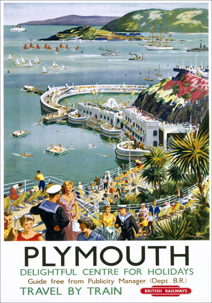 Plymouth Harbour, Devon. Vintage BR(WR) Travel poster by Harry R